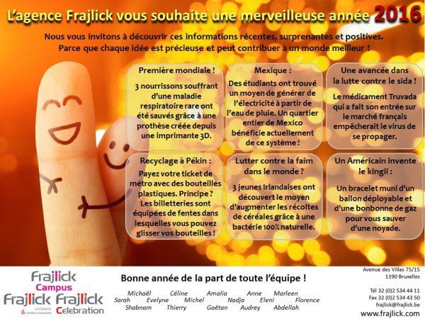 l'agence Frajlick vous souhaite une bonne année 2016