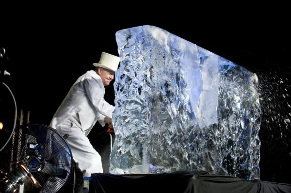 spectacle de sculpture de glace, fête du personnel