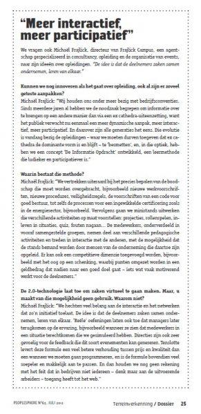artikel over informatie opdracht concept in peoplesphere tijdschrift