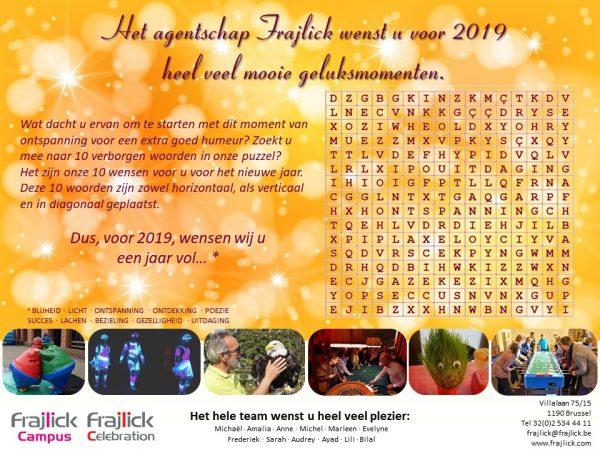 nieuwjaarskaart 2019 van Frajlick bureau